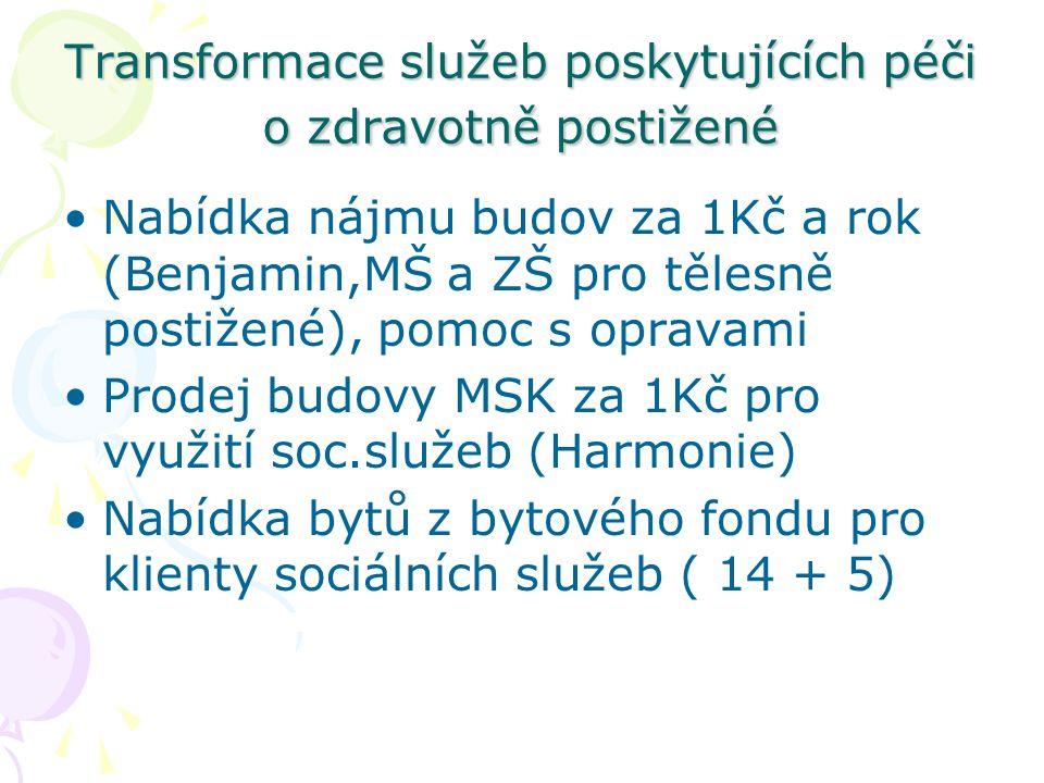 Transformace služeb poskytujících péči o zdravotně postižené Nabídka nájmu budov za 1Kč a rok (Benjamin,MŠ a ZŠ pro tělesně postižené), pomoc s opravami Prodej budovy MSK za 1Kč pro využití soc.služeb (Harmonie) Nabídka bytů z bytového fondu pro klienty sociálních služeb ( 14 + 5)