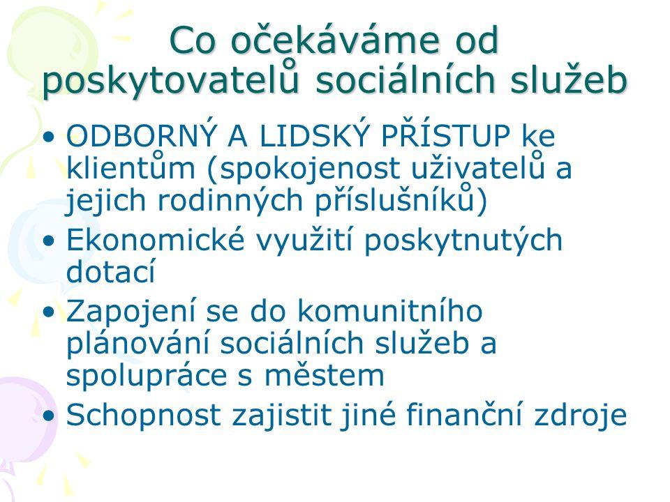 Co očekáváme od poskytovatelů sociálních služeb ODBORNÝ A LIDSKÝ PŘÍSTUP ke klientům (spokojenost uživatelů a jejich rodinných příslušníků) Ekonomické využití poskytnutých dotací Zapojení se do komunitního plánování sociálních služeb a spolupráce s městem Schopnost zajistit jiné finanční zdroje