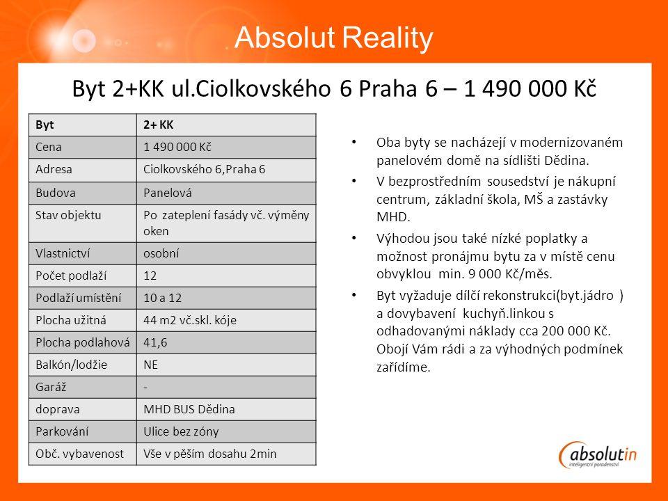 BByt Absolut Reality Byt2+ KK Cena1 490 000 Kč AdresaCiolkovského 6,Praha 6 BudovaPanelová Stav objektuPo zateplení fasády vč.