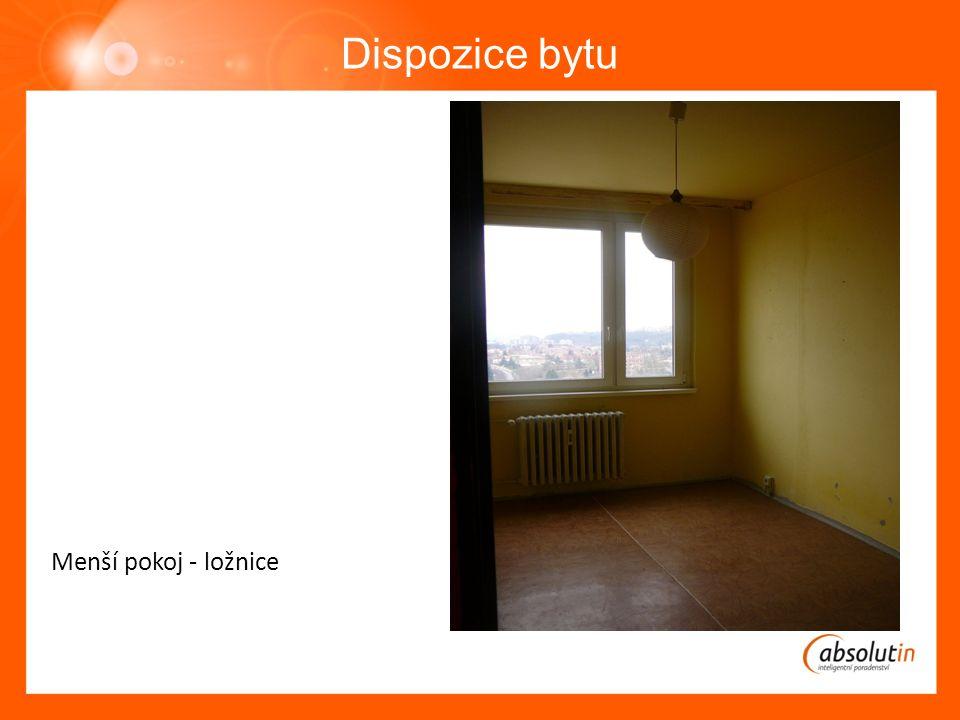 Dispozice bytu Menší pokoj - ložnice