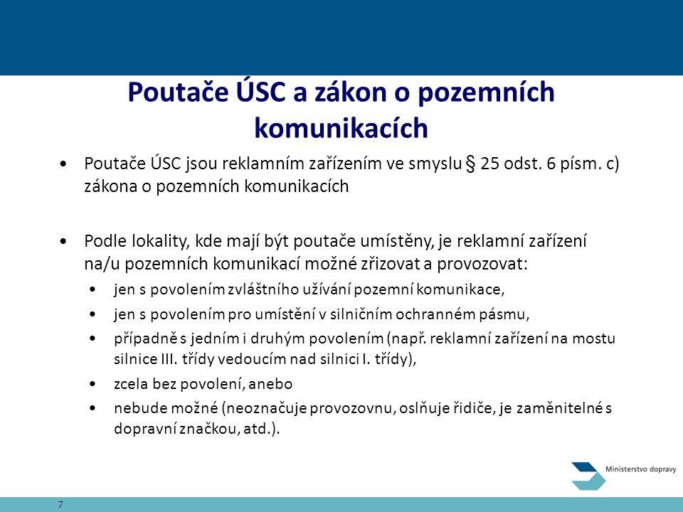 Poutače ÚSC a zákon o pozemních komunikacích Poutače ÚSC jsou reklamním zařízením ve smyslu § 25 odst.