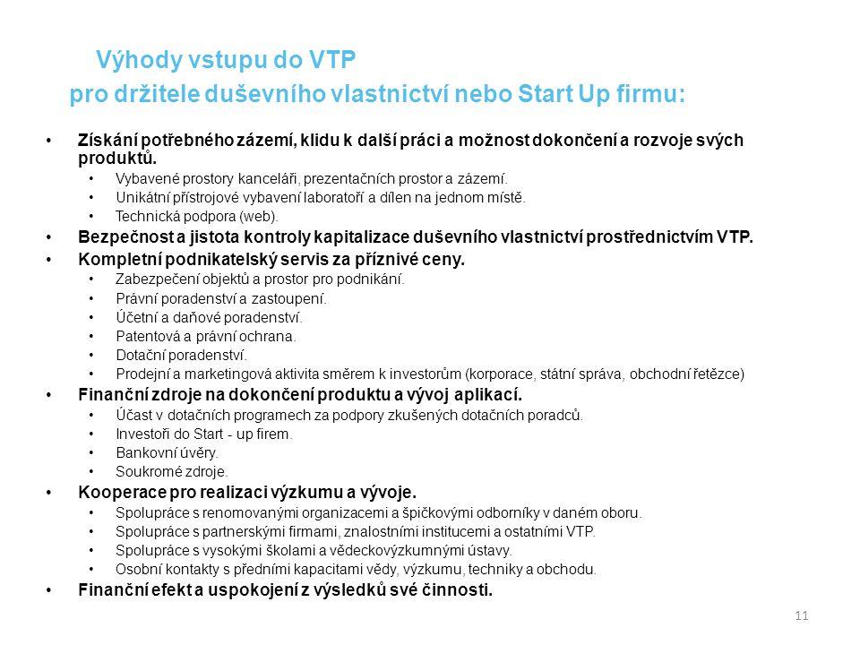 Výhody vstupu do VTP pro držitele duševního vlastnictví nebo Start Up firmu: Získání potřebného zázemí, klidu k další práci a možnost dokončení a rozvoje svých produktů.