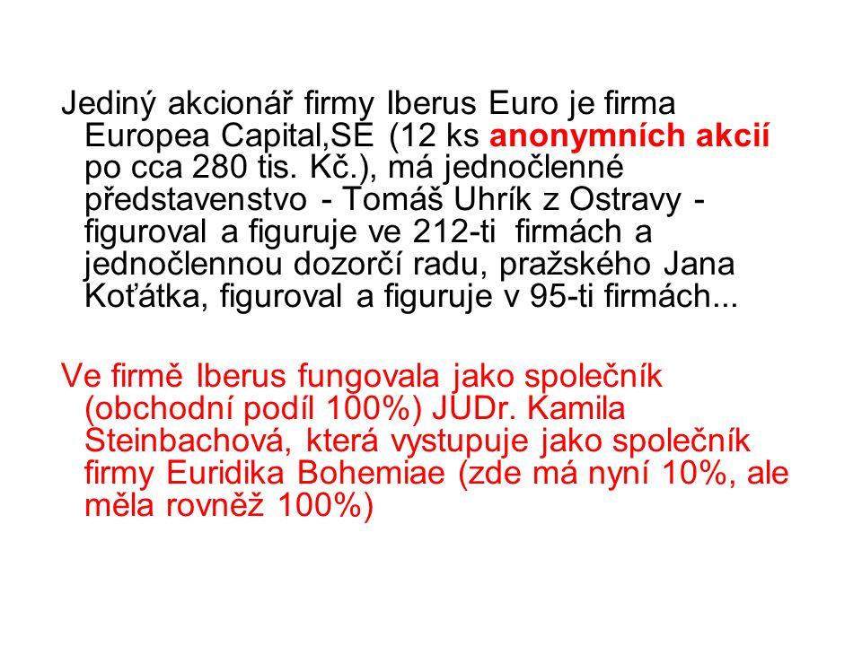 Jediný akcionář firmy Iberus Euro je firma Europea Capital,SE (12 ks anonymních akcií po cca 280 tis.