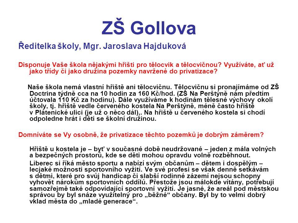 ZŠ Gollova Ředitelka školy, Mgr.