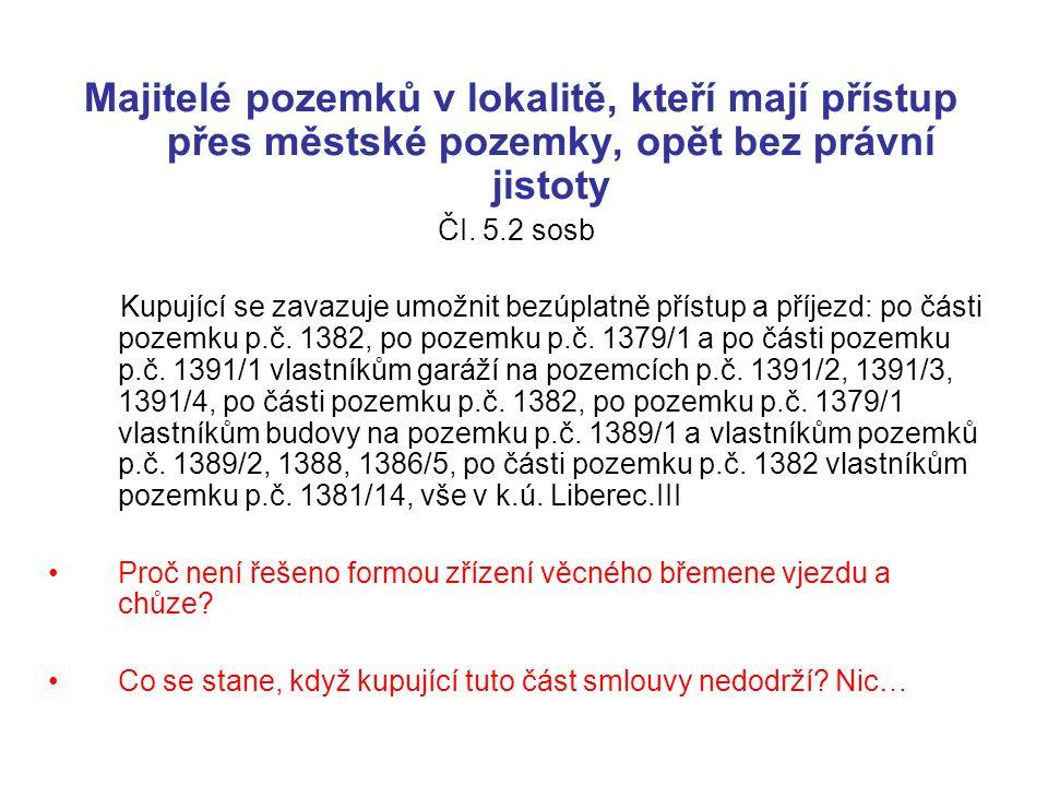 Využívání komunikací veřejností V původní smlouvě Čl 4.8.