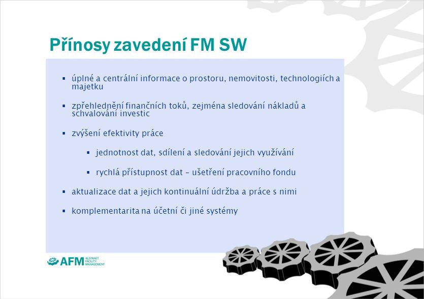 Přínosy zavedení FM SW  úplné a centrální informace o prostoru, nemovitosti, technologiích a majetku  zpřehlednění finančních toků, zejména sledování nákladů a schvalování investic  zvýšení efektivity práce  jednotnost dat, sdílení a sledování jejich využívání  rychlá přístupnost dat – ušetření pracovního fondu  aktualizace dat a jejich kontinuální údržba a práce s nimi  komplementarita na účetní či jiné systémy
