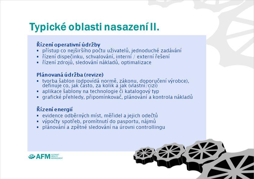 Typické oblasti nasazení II.