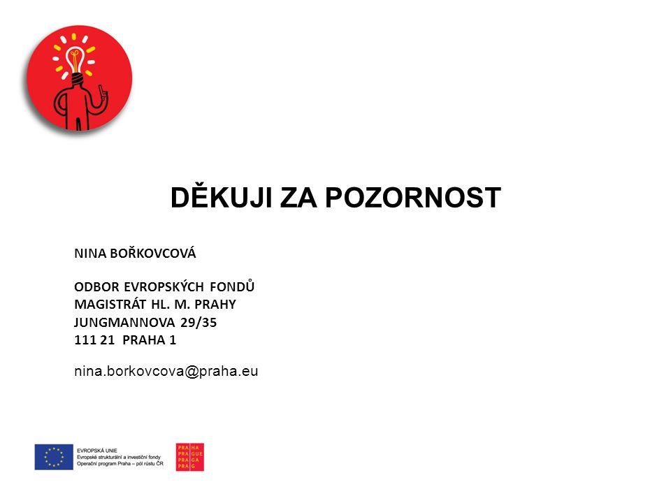 DĚKUJI ZA POZORNOST NINA BOŘKOVCOVÁ ODBOR EVROPSKÝCH FONDŮ MAGISTRÁT HL. M. PRAHY JUNGMANNOVA 29/35 111 21 PRAHA 1 nina.borkovcova@praha.eu