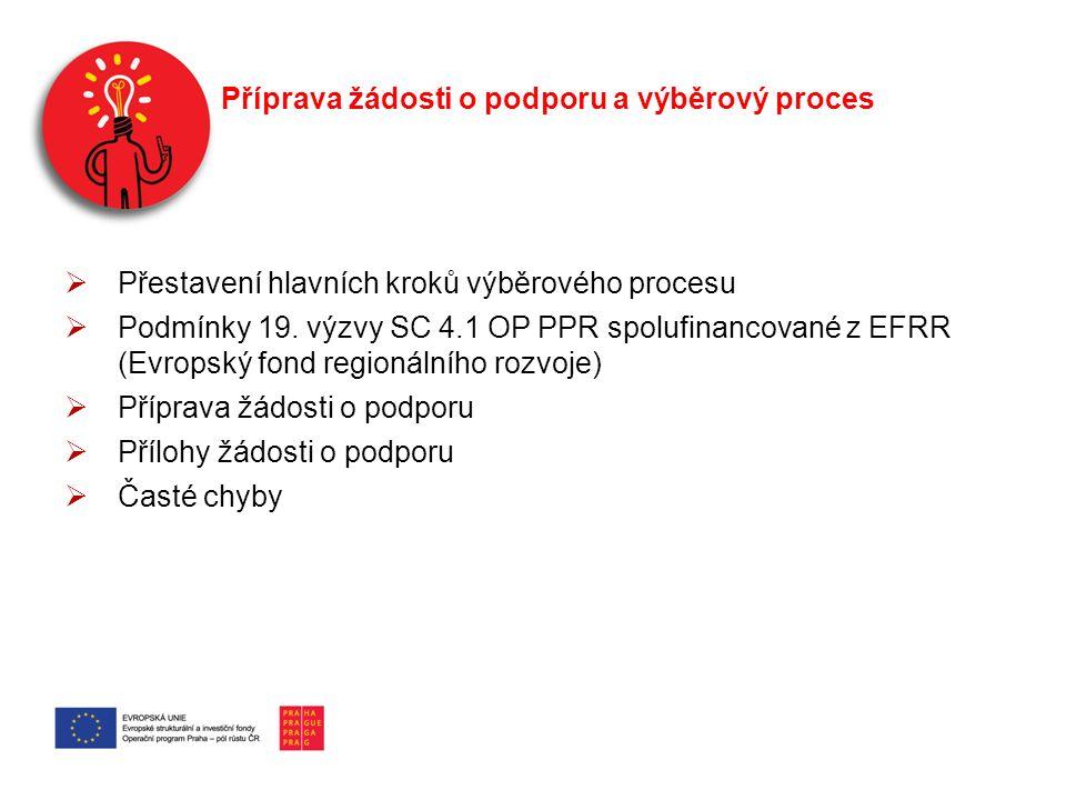 Příprava žádosti o podporu a výběrový proces  Přestavení hlavních kroků výběrového procesu  Podmínky 19. výzvy SC 4.1 OP PPR spolufinancované z EFRR
