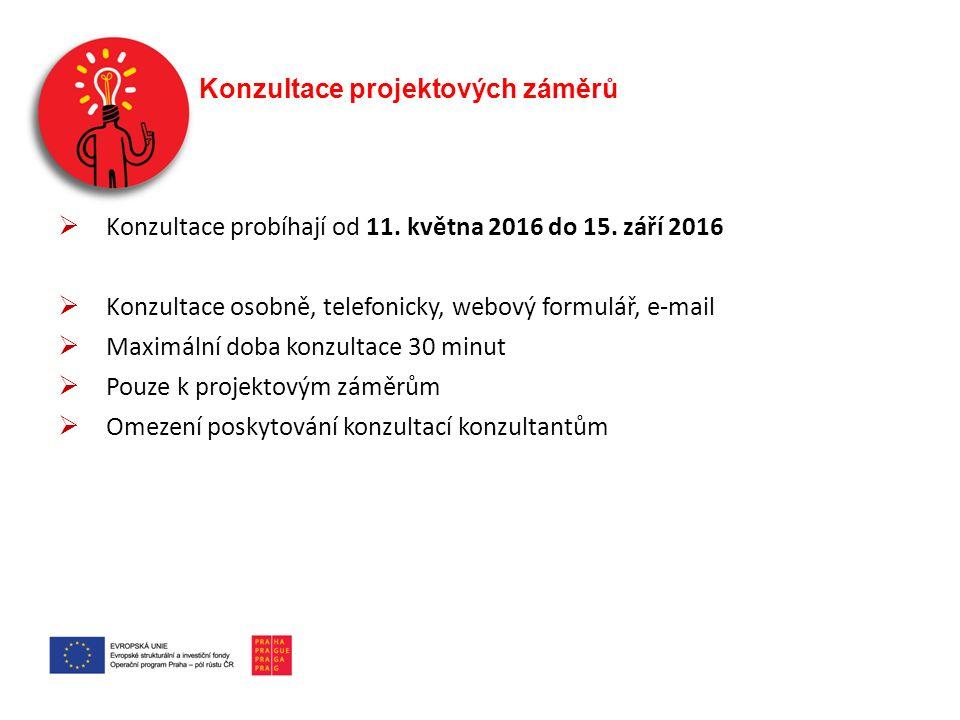 Konzultace projektových záměrů  Konzultace probíhají od 11. května 2016 do 15. září 2016  Konzultace osobně, telefonicky, webový formulář, e-mail 