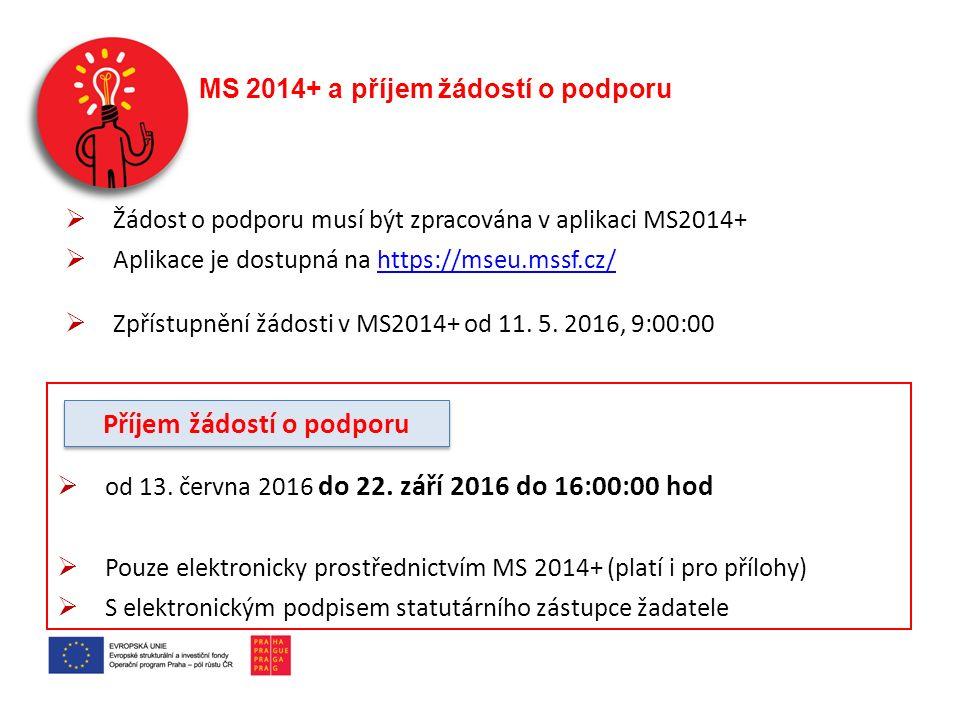 MS 2014+ a příjem žádostí o podporu  od 13. června 2016 do 22. září 2016 do 16:00:00 hod  Pouze elektronicky prostřednictvím MS 2014+ (platí i pro p