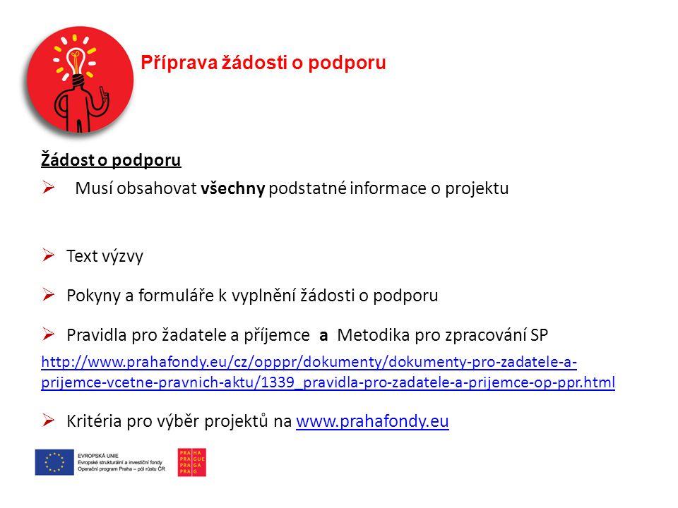 Příprava žádosti o podporu Žádost o podporu  Musí obsahovat všechny podstatné informace o projektu  Text výzvy  Pokyny a formuláře k vyplnění žádosti o podporu  Pravidla pro žadatele a příjemce a Metodika pro zpracování SP http://www.prahafondy.eu/cz/opppr/dokumenty/dokumenty-pro-zadatele-a- prijemce-vcetne-pravnich-aktu/1339_pravidla-pro-zadatele-a-prijemce-op-ppr.html  Kritéria pro výběr projektů na www.prahafondy.euwww.prahafondy.eu