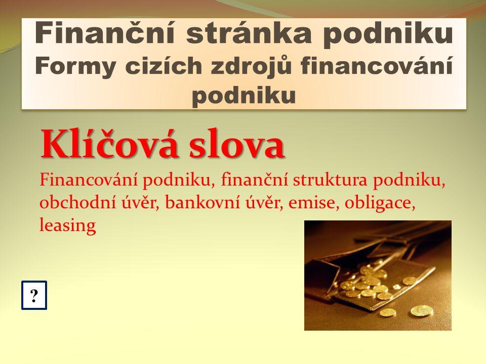Finanční stránka podniku Formy cizích zdrojů financování podniku .