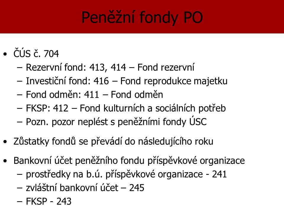 Peněžní fondy PO ČÚS č.