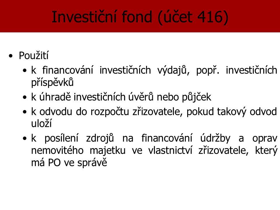 Investiční fond (účet 416) Použití k financování investičních výdajů, popř.