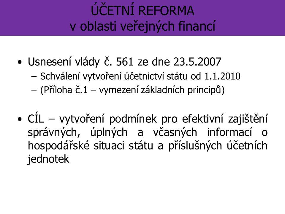 ÚČETNÍ REFORMA v oblasti veřejných financí Usnesení vlády č.