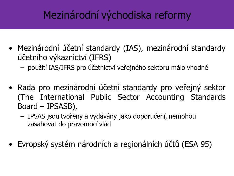 Mezinárodní východiska reformy Mezinárodní účetní standardy (IAS), mezinárodní standardy účetního výkaznictví (IFRS) –použití IAS/IFRS pro účetnictví veřejného sektoru málo vhodné Rada pro mezinárodní účetní standardy pro veřejný sektor (The International Public Sector Accounting Standards Board – IPSASB), –IPSAS jsou tvořeny a vydávány jako doporučení, nemohou zasahovat do pravomocí vlád Evropský systém národních a regionálních účtů (ESA 95)