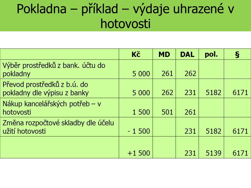 Pokladna – příklad – výdaje uhrazené v hotovosti KčMDDALpol.§ Výběr prostředků z bank.