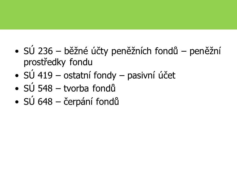 SÚ 236 – běžné účty peněžních fondů – peněžní prostředky fondu SÚ 419 – ostatní fondy – pasivní účet SÚ 548 – tvorba fondů SÚ 648 – čerpání fondů