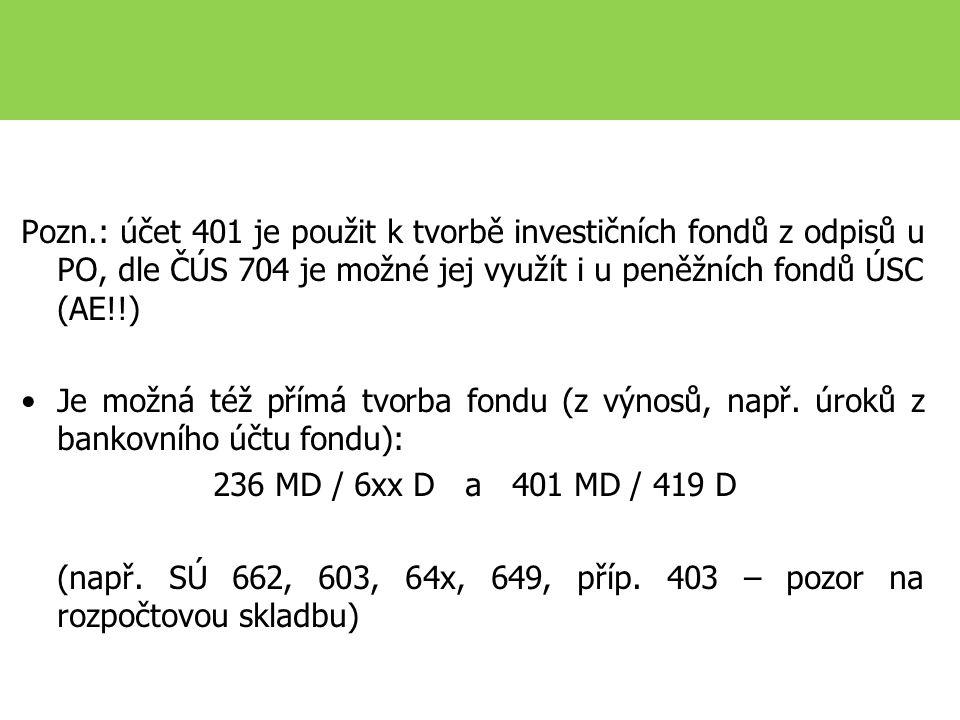Pozn.: účet 401 je použit k tvorbě investičních fondů z odpisů u PO, dle ČÚS 704 je možné jej využít i u peněžních fondů ÚSC (AE!!) Je možná též přímá tvorba fondu (z výnosů, např.
