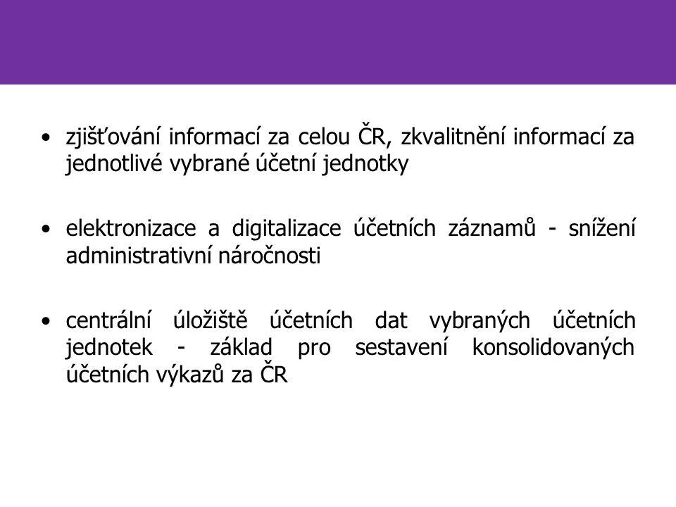 zjišťování informací za celou ČR, zkvalitnění informací za jednotlivé vybrané účetní jednotky elektronizace a digitalizace účetních záznamů - snížení administrativní náročnosti centrální úložiště účetních dat vybraných účetních jednotek - základ pro sestavení konsolidovaných účetních výkazů za ČR