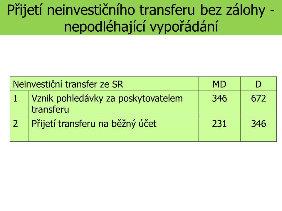 Přijetí neinvestičního transferu bez zálohy - nepodléhající vypořádání Neinvestiční transfer ze SRMDD 1Vznik pohledávky za poskytovatelem transferu 346672 2Přijetí transferu na běžný účet231346
