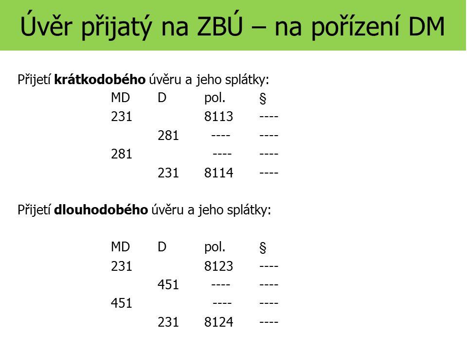 Úvěr přijatý na ZBÚ – na pořízení DM Přijetí krátkodobého úvěru a jeho splátky: MD D pol.