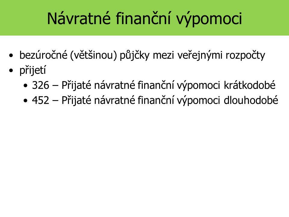 Návratné finanční výpomoci bezúročné (většinou) půjčky mezi veřejnými rozpočty přijetí 326 – Přijaté návratné finanční výpomoci krátkodobé 452 – Přijaté návratné finanční výpomoci dlouhodobé