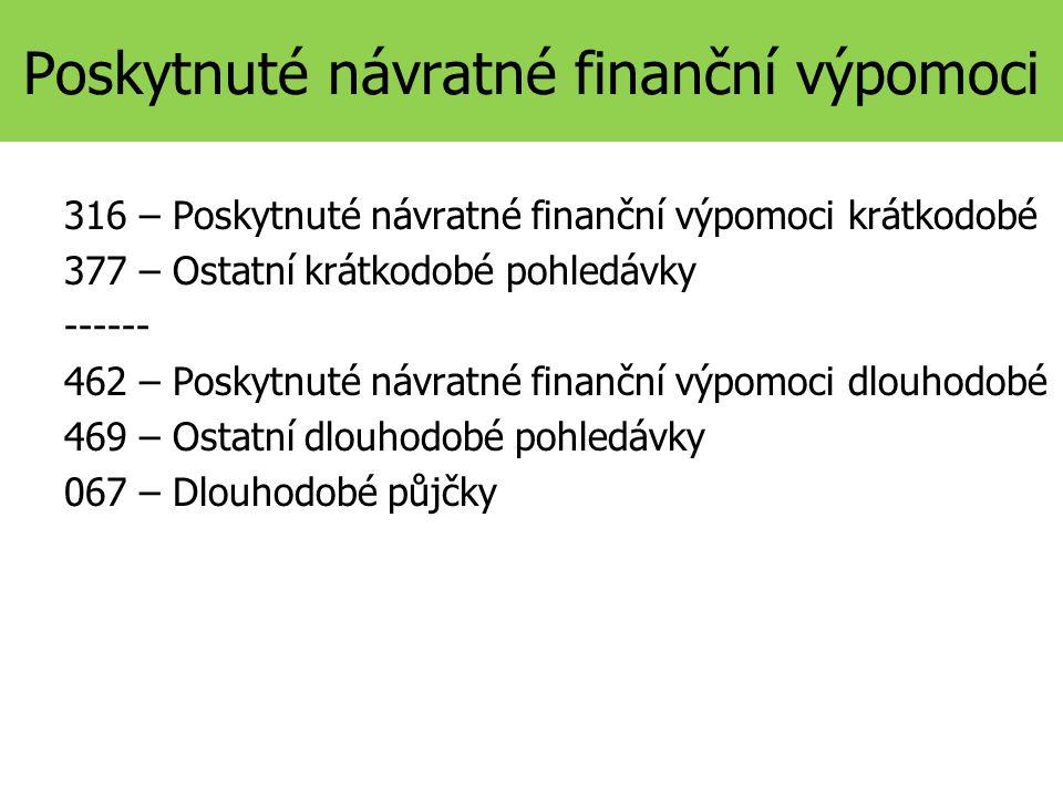 Poskytnuté návratné finanční výpomoci 316 – Poskytnuté návratné finanční výpomoci krátkodobé 377 – Ostatní krátkodobé pohledávky ------ 462 – Poskytnuté návratné finanční výpomoci dlouhodobé 469 – Ostatní dlouhodobé pohledávky 067 – Dlouhodobé půjčky