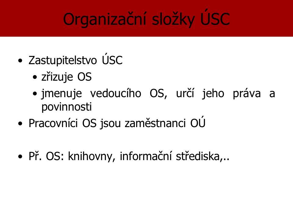 Organizační složky ÚSC Zastupitelstvo ÚSC zřizuje OS jmenuje vedoucího OS, určí jeho práva a povinnosti Pracovníci OS jsou zaměstnanci OÚ Př.