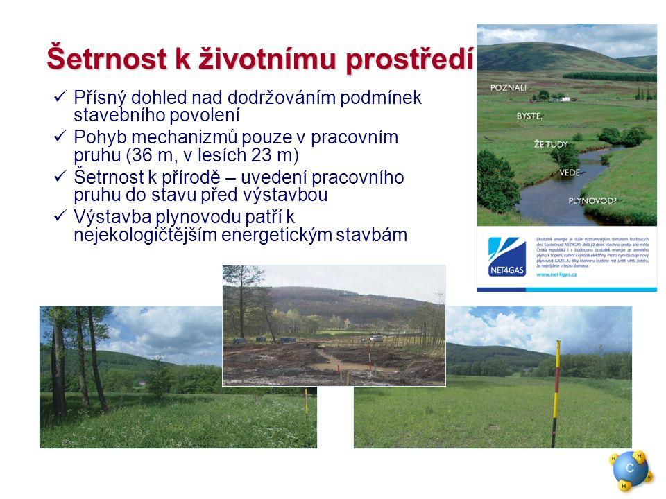 Šetrnost k životnímu prostředí Přísný dohled nad dodržováním podmínek stavebního povolení Pohyb mechanizmů pouze v pracovním pruhu (36 m, v lesích 23 m) Šetrnost k přírodě – uvedení pracovního pruhu do stavu před výstavbou Výstavba plynovodu patří k nejekologičtějším energetickým stavbám