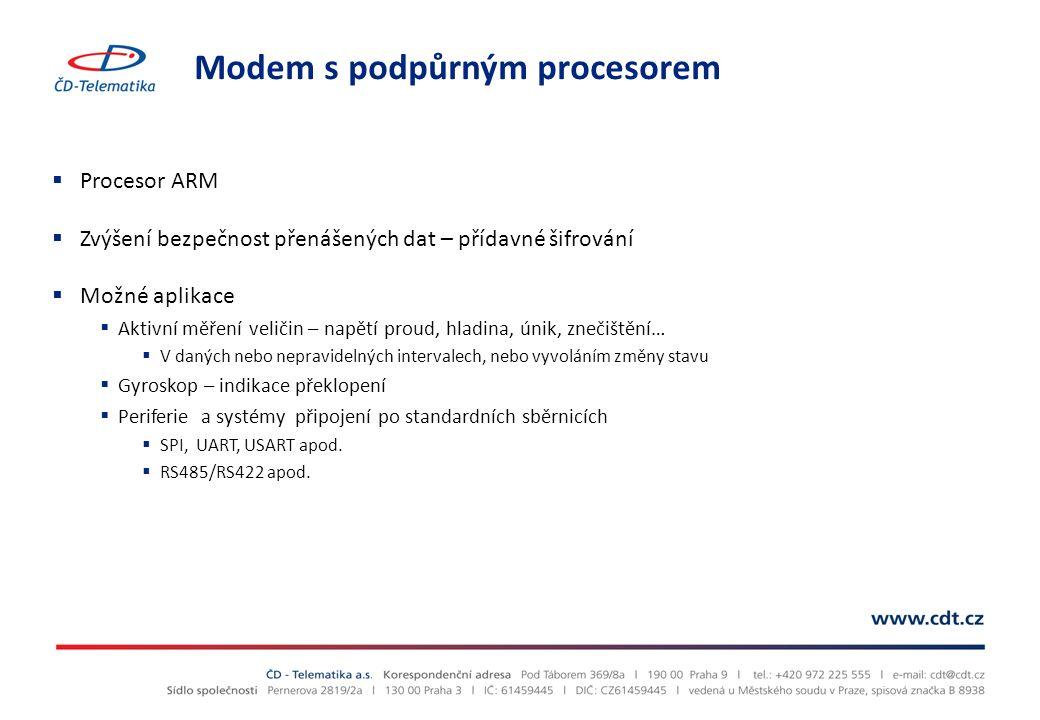 Modem s podpůrným procesorem  Procesor ARM  Zvýšení bezpečnost přenášených dat – přídavné šifrování  Možné aplikace  Aktivní měření veličin – napě