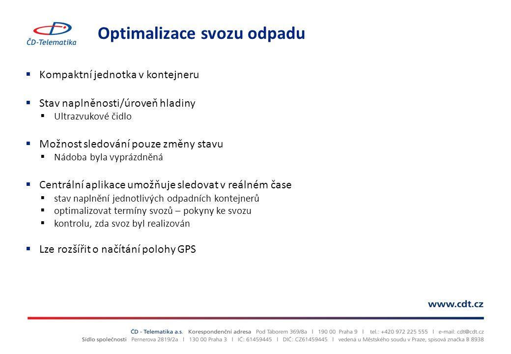 Optimalizace svozu odpadu  Kompaktní jednotka v kontejneru  Stav naplněnosti/úroveň hladiny  Ultrazvukové čidlo  Možnost sledování pouze změny sta