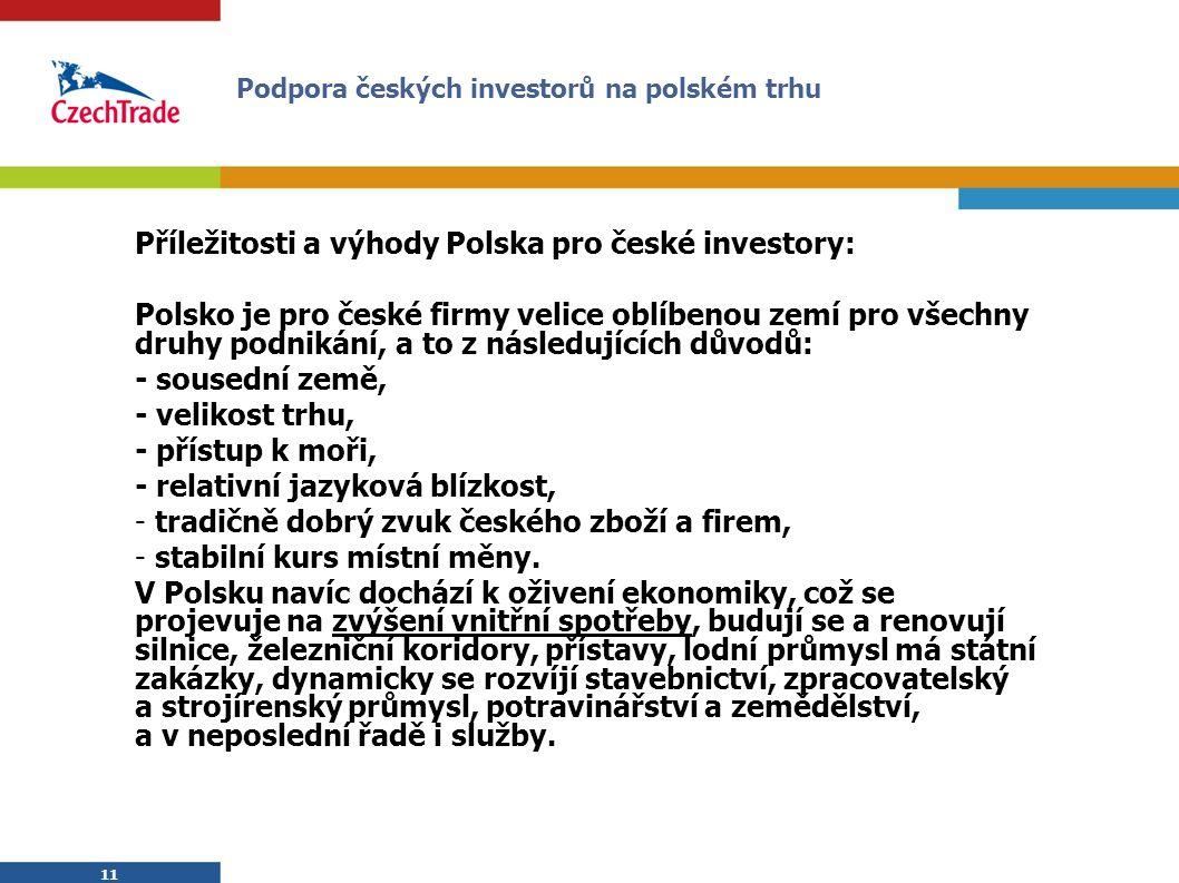 11 Příležitosti a výhody Polska pro české investory: Polsko je pro české firmy velice oblíbenou zemí pro všechny druhy podnikání, a to z následujících důvodů: - sousední země, - velikost trhu, - přístup k moři, - relativní jazyková blízkost, - tradičně dobrý zvuk českého zboží a firem, - stabilní kurs místní měny.