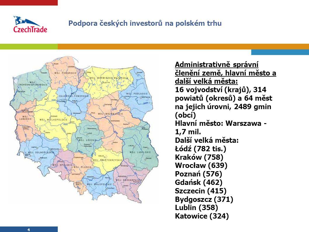 4 4 Administrativně správní členění země, hlavní město a další velká města: 16 vojvodství (krajů), 314 powiatů (okresů) a 64 měst na jejich úrovni, 2489 gmin (obcí) Hlavní město: Warszawa - 1,7 mil.