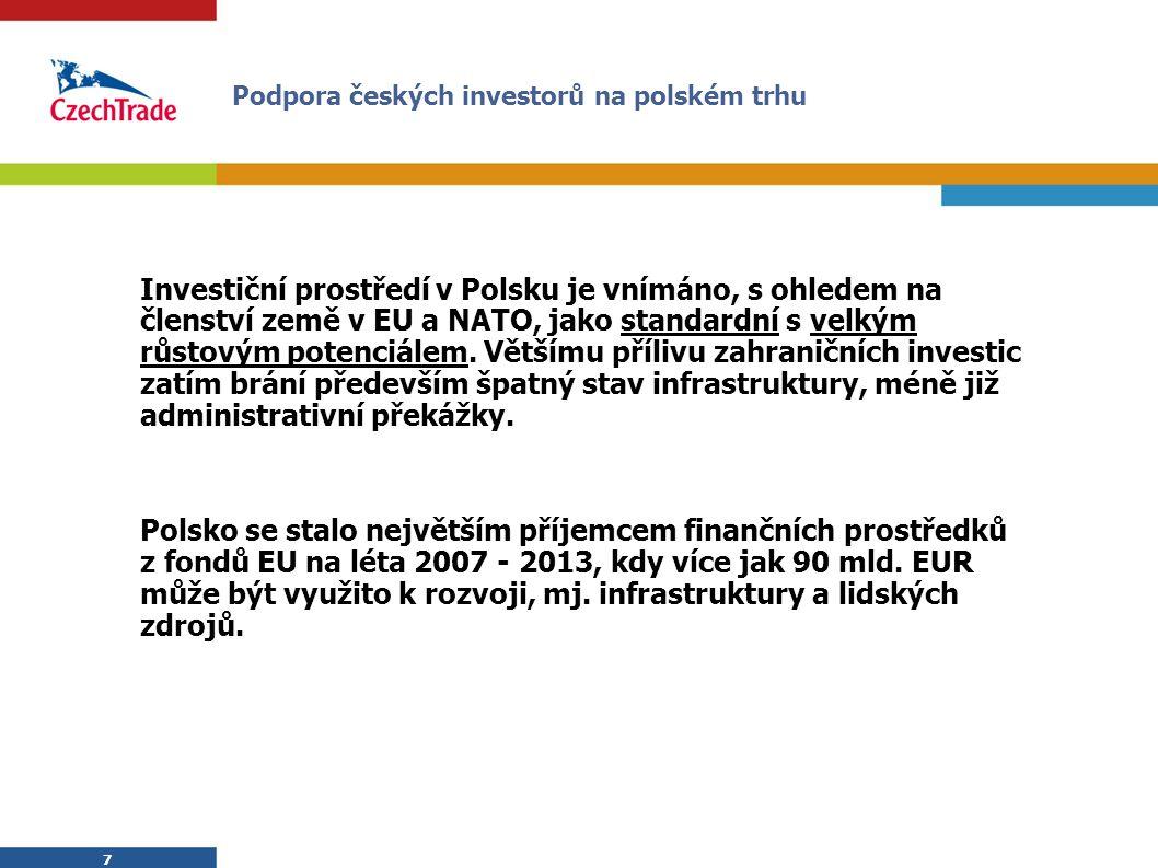 7 7 Investiční prostředí v Polsku je vnímáno, s ohledem na členství země v EU a NATO, jako standardní s velkým růstovým potenciálem.