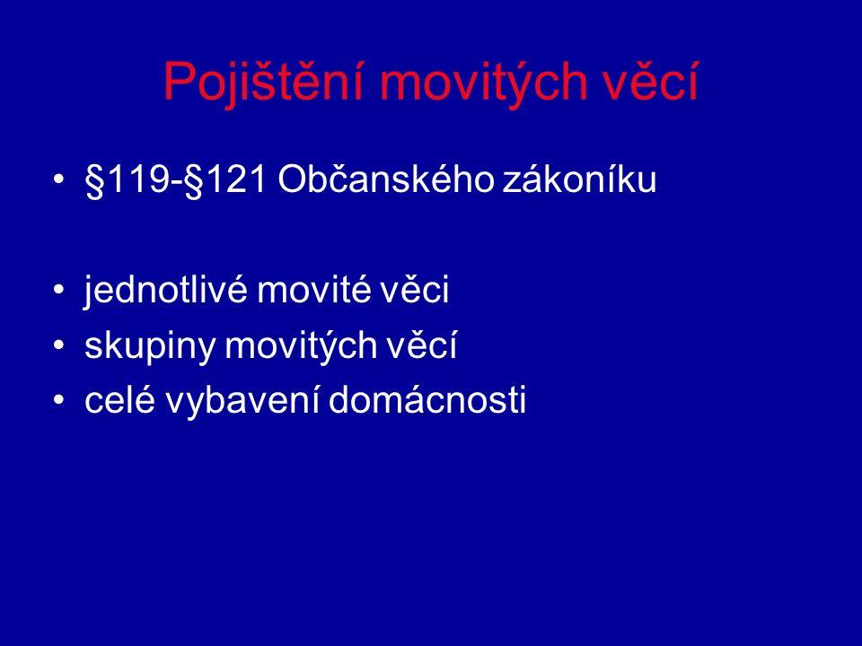 Pojištění movitých věcí §119-§121 Občanského zákoníku jednotlivé movité věci skupiny movitých věcí celé vybavení domácnosti