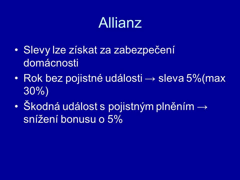 Allianz Slevy lze získat za zabezpečení domácnosti Rok bez pojistné události → sleva 5%(max 30%) Škodná událost s pojistným plněním → snížení bonusu o 5%