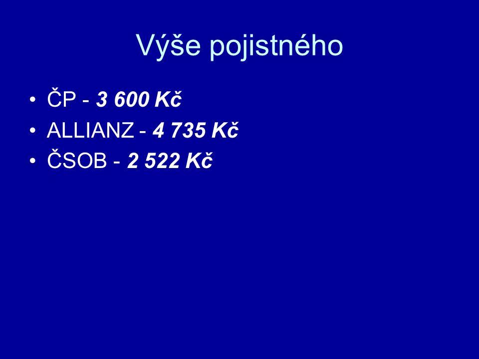 Výše pojistného ČP - 3 600 Kč ALLIANZ - 4 735 Kč ČSOB - 2 522 Kč