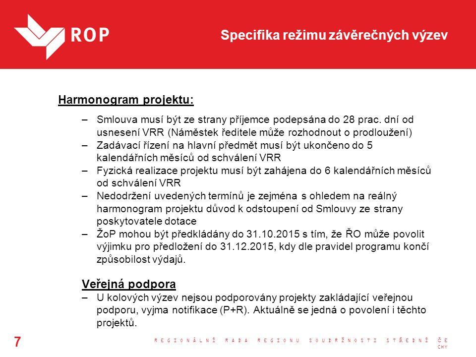 Specifika režimu závěrečných výzev Harmonogram projektu: –Smlouva musí být ze strany příjemce podepsána do 28 prac.