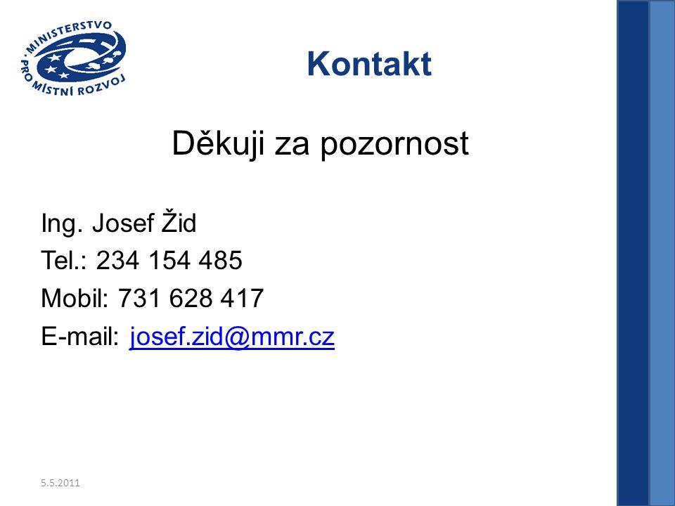 5.5.2011 Kontakt Děkuji za pozornost Ing.