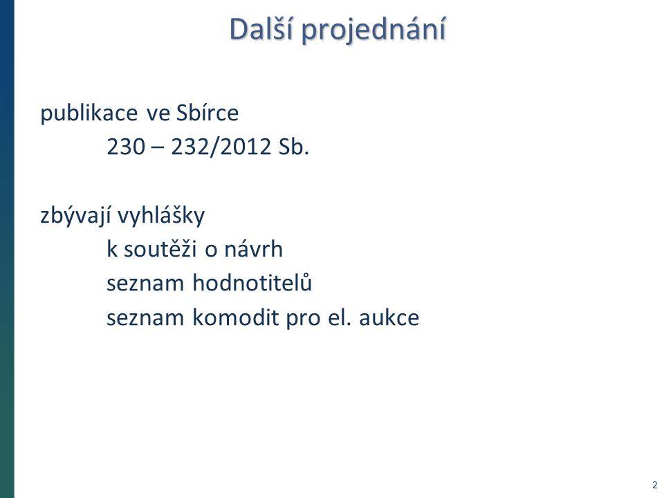 Další projednání publikace ve Sbírce 230 – 232/2012 Sb. zbývají vyhlášky k soutěži o návrh seznam hodnotitelů seznam komodit pro el. aukce 2