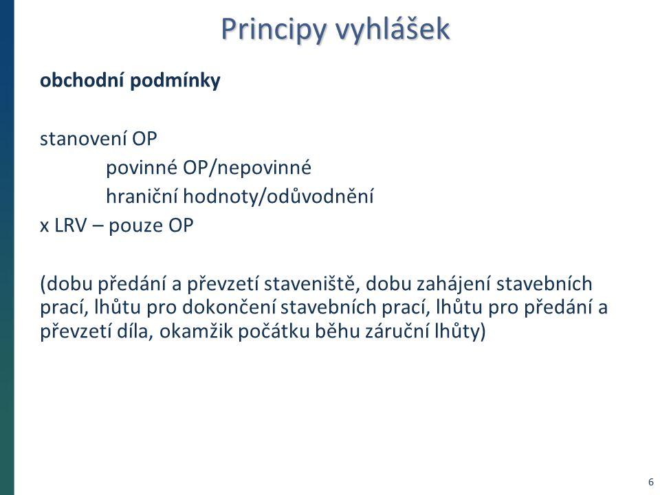 Principy vyhlášek odůvodnění účelnosti v předběžném oznámení popis potřeb, které mají být splněním veřejné zakázky naplněny popis předmětu veřejné zakázky popis vzájemného vztahu předmětu veřejné zakázky a potřeb zadavatele předpokládaný termín splnění veřejné zakázky 7