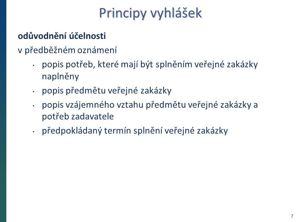 Principy vyhlášek odůvodnění účelnosti v předběžném oznámení popis potřeb, které mají být splněním veřejné zakázky naplněny popis předmětu veřejné zak