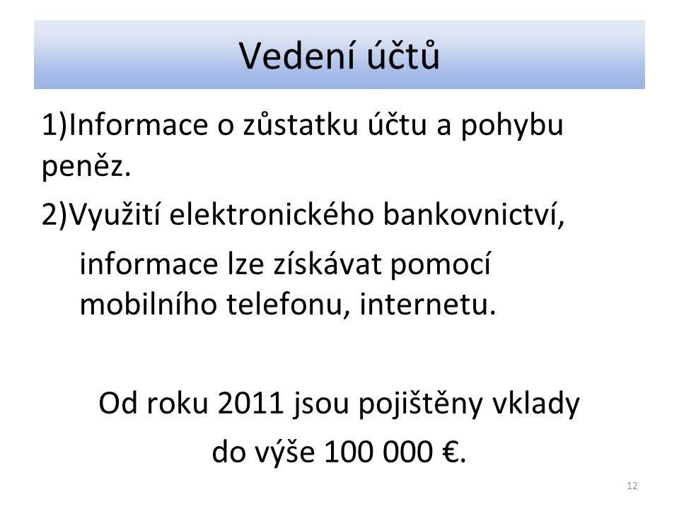 Vedení účtů 1)Informace o zůstatku účtu a pohybu peněz.