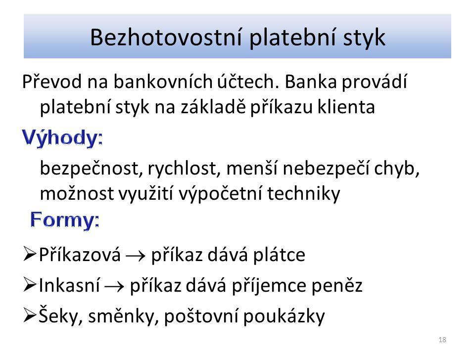 Bezhotovostní platební styk Převod na bankovních účtech.
