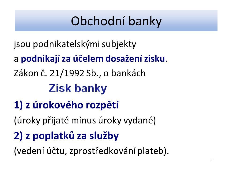 Obchodní banky jsou podnikatelskými subjekty a podnikají za účelem dosažení zisku. Zákon č. 21/1992 Sb., o bankách 1) z úrokového rozpětí (úroky přija