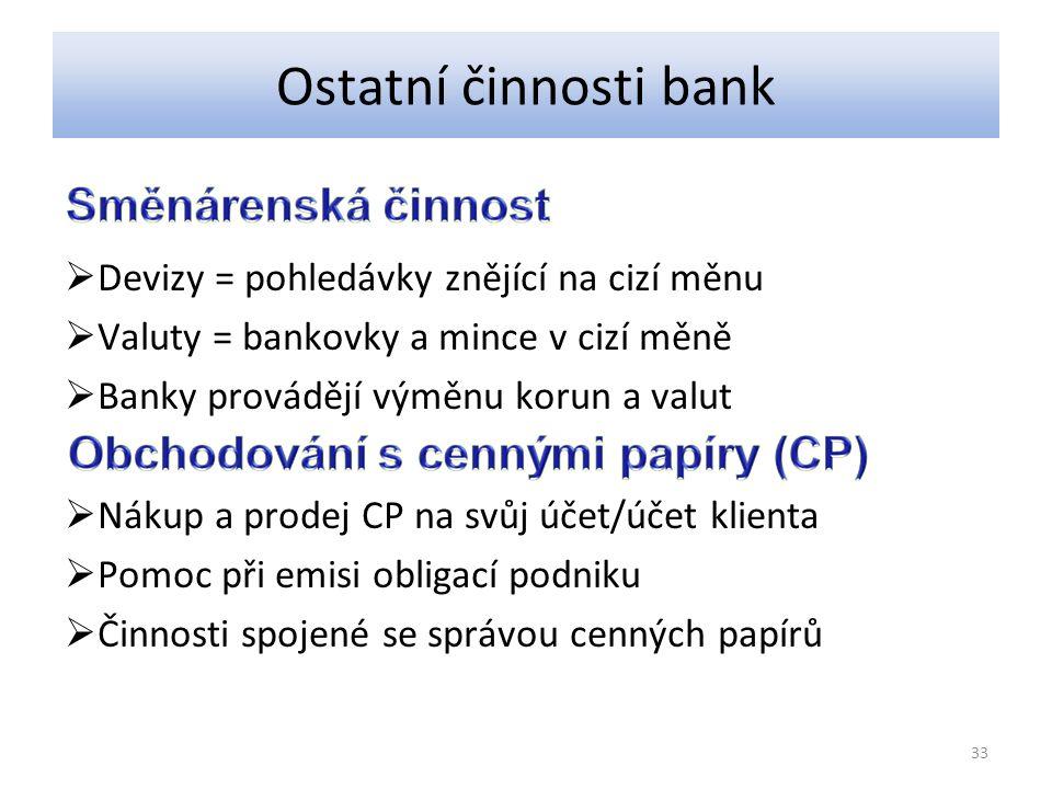 Ostatní činnosti bank  Devizy = pohledávky znějící na cizí měnu  Valuty = bankovky a mince v cizí měně  Banky provádějí výměnu korun a valut  Nákup a prodej CP na svůj účet/účet klienta  Pomoc při emisi obligací podniku  Činnosti spojené se správou cenných papírů 33