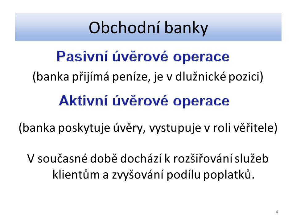(banka přijímá peníze, je v dlužnické pozici) (banka poskytuje úvěry, vystupuje v roli věřitele) V současné době dochází k rozšiřování služeb klientům a zvyšování podílu poplatků.