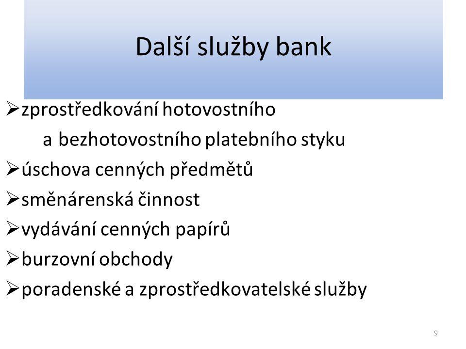Další služby bank  zprostředkování hotovostního a bezhotovostního platebního styku  úschova cenných předmětů  směnárenská činnost  vydávání cennýc